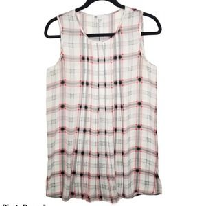 DR2 Tunic Top Sleeveless Plaid Pleated Front S